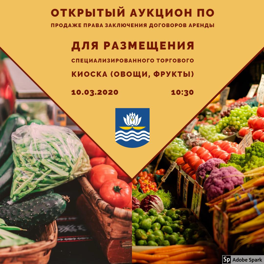 ОТКРЫТЫЙ АУКЦИОН по продаже ПРАВА ЗАКЛЮЧЕНИЯ ДОГОВОРОВ АРЕНДЫ Для размещения специализированного торгового киоска (овощи, фрукты)